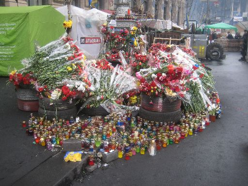One of many, many Euromaidan memorials in Kyiv, this one actually by Maidan