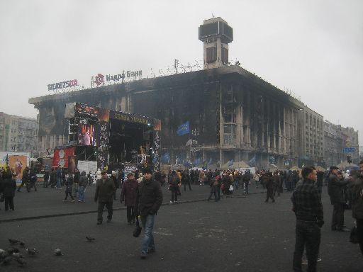 The Euromaidan stage in front of the burnt-out Trade Unions Building