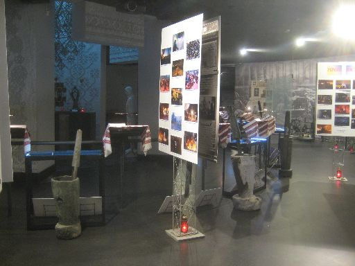 Inside the Holodomor museum, with Euromaidan pictures on posters