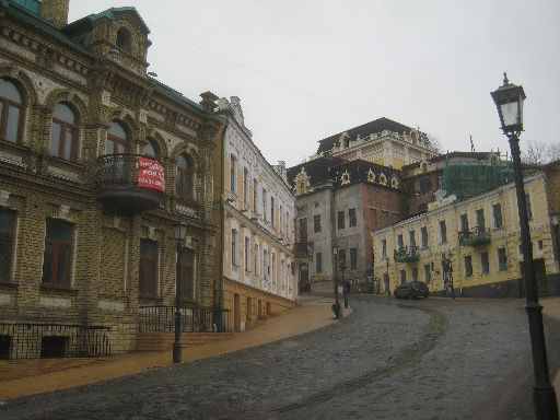 On a foggy winter weekday, the road up to the main part of the city is nearly deserted; many of the houses may be too.