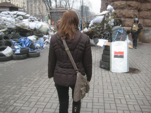 A barricade, with a Right Sector shield in the foreground