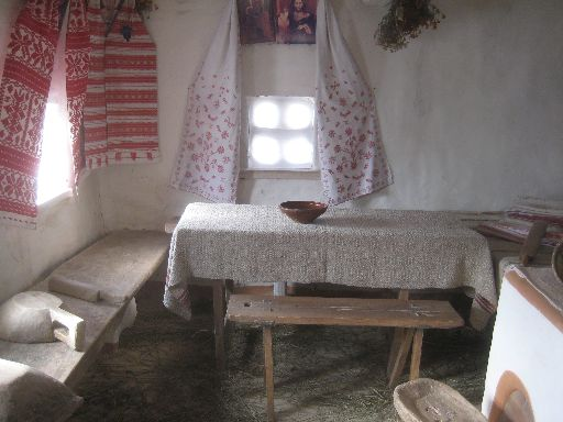 Inside a recreation of a Dnieper-region home