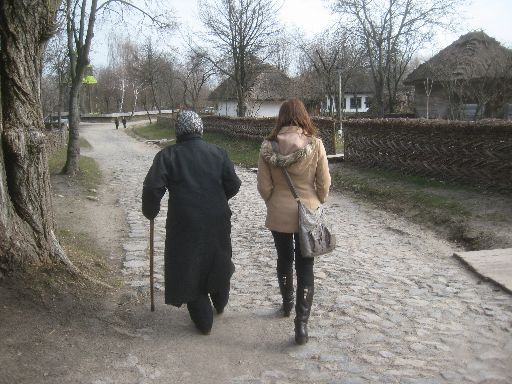Mila and our guide walking through the Dnieper 'village'