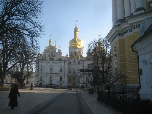 The Cathedral of the Dormition, with the Lavra belltower in the foreground in the foreground