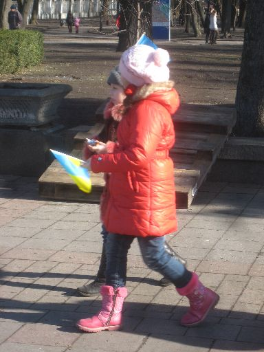 Patriotic young Ukrainians, just outside a park on a sunnier day