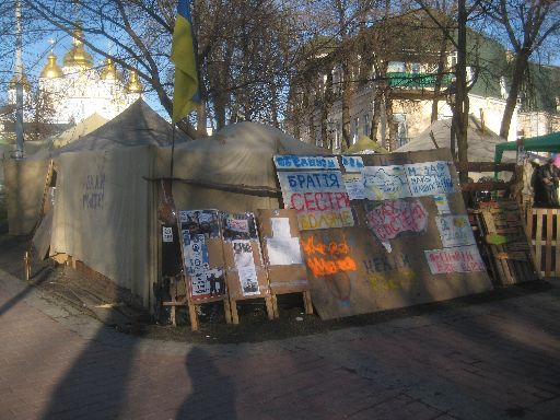 Euromaidan camp across the street from St. Michael's