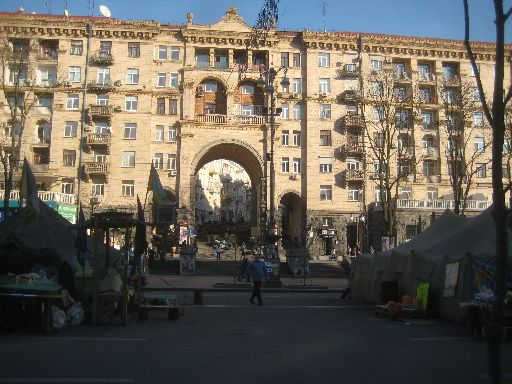 A building on Khreshchatyk, one of the streets closed due to the protest camp.  The passageway, partially barricaded, leads to Z.B.