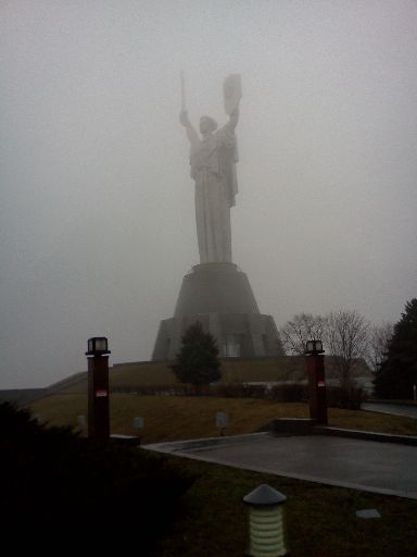 The Motherland Monument, during what passed for a break in the fog