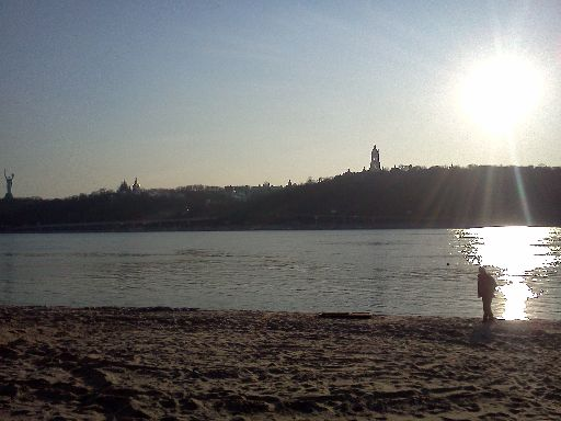 View across the Dnieper from Hidropark to Lavra and the war museum