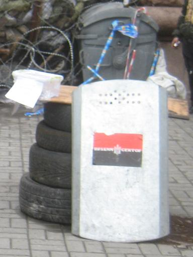 A close-up of the Right Sector shield, with flag